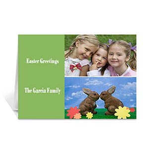 Personalized Elegant Collage Green Easter Greetings Greeting Cards