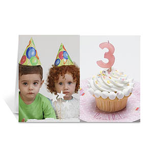 Personalized Classic Two Photo Collage Birthday Card
