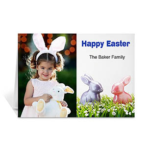 Personalized Classic Two Photo Collage Easter Card
