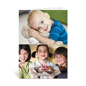 personalized classic two photo collage birthday card portrait