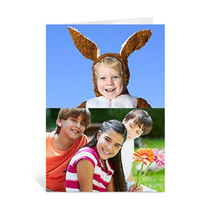 Personalized Classic Two Photo Collage Easter Card, Portrait