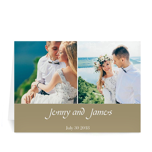 Personalized Two Collage Wedding Photo Cards, 5X7 Simple Beige