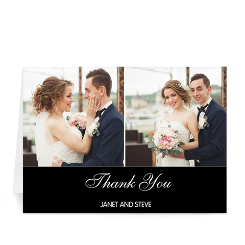 Personalized Two Collage Wedding Photo Cards, 5X7 Simple Black