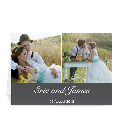 Personalized Two Collage Wedding Photo Cards, 5X7 Simple Grey