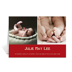 Two Collage Baby Photo Cards, 5x7 Simple Red