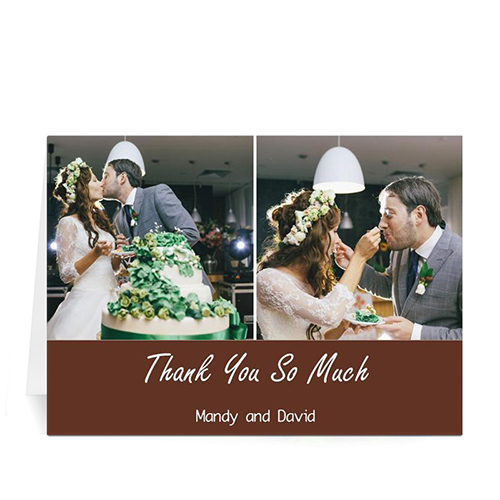 Personalized Two Collage Wedding Photo Cards, 5X7 Simple Chocolate