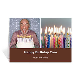 Personalized Two Collage Birthday Photo Cards, 5X7 Simple Chocolate