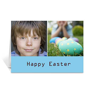 Two Collage Easter Photo Cards, 5x7 Simple Blue