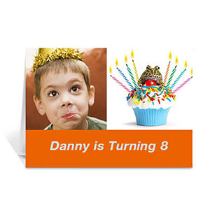 Personalized Two Collage Birthday Photo Cards, 5X7 Simple Orange
