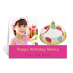 Personalized Two Collage Birthday Photo Cards, 5X7 Simple Hot Pink