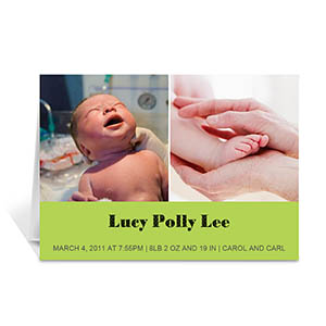 Personalized Lime Two Collage Baby Announcement Cards