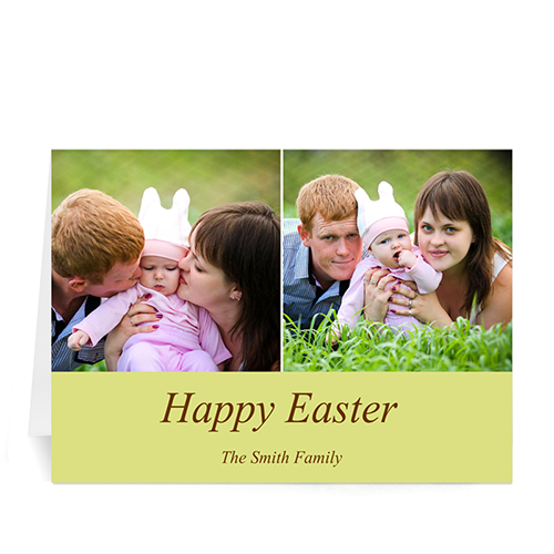 Personalized Two Collage Easter Photo Cards, 5X7 Simple Yellow