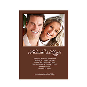 Personalized Chocolate Wedding Announcement 5x7 Stationery Card