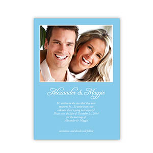 Personalized Baby Blue Wedding Announcement, 5X7 Stationery Card
