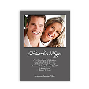 Personalized Grey Wedding Announcement, 5X7 Stationery Card