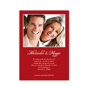Personalized Red Wedding Announcement, 5X7 Stationery Card