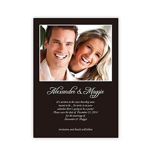 Personalized Black Wedding Announcement, 5X7 Stationery Card