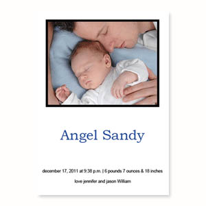 Personalized White Birth Announcements, 5X7 Stationery Card