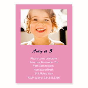 Personalized Baby Pink Birthday Invitations, 5X7 Stationery Card
