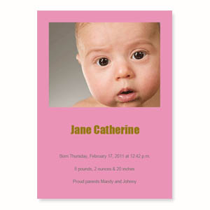 Baby Pink Birth Announcements, 5x7 Stationery Card