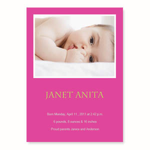Personalized Hot Pink Birth Announcements, 5X7 Stationery Card