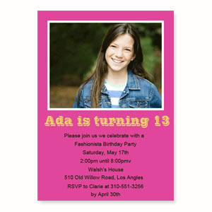 Hot Pink Birthday Invitations Small Stationery Card