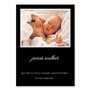 Personalized Black Birth Announcements, 5X7 Stationery Card