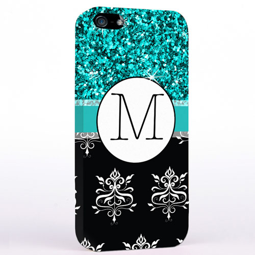 Personalized Glitter Peacock Black Vintage iPhone Case