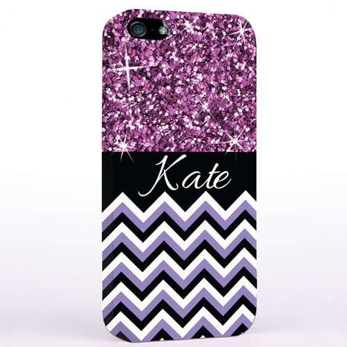 Personalized Glitter Lavender Chevron iPhone Case