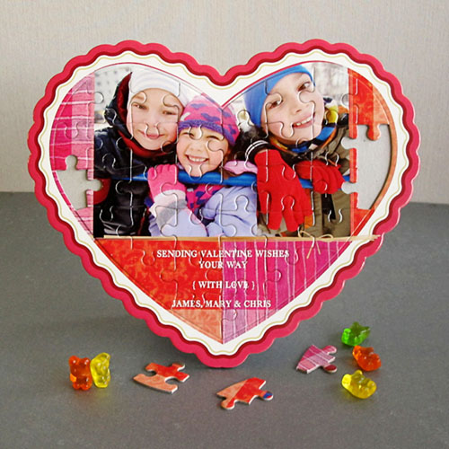 Sending Love Personalized Heart Shape Puzzle