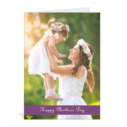 Personalized Mothers Day Greeting Cards, 5X7 Folded Purple