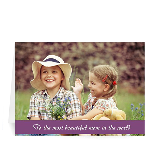 Personalized Mothers Day Photo Greeting Cards, 5X7 Folded Purple