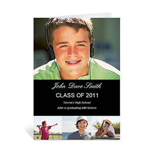 Custom Printed Four Collage Graduation Announcement, Honored Black Greeting Card