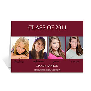 Custom Printed Four Collage Graduation Announcement, Elegant Red Greeting Card