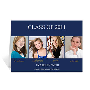 Custom Printed Four Collage Graduation Announcement, Elegant Blue Greeting Card