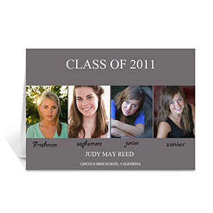 Four Collage Graduation Announcement, Elegant Grey