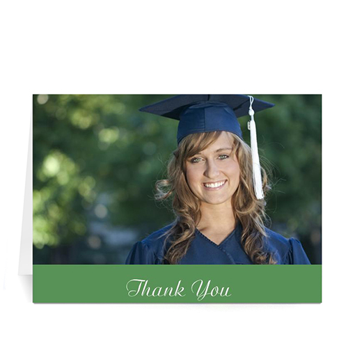 Custom Printed Graduation Thank You Card, Stylish Green Greeting Card