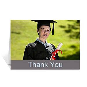 Custom Printed Graduation Thank You Card, Stylish Grey Greeting Card