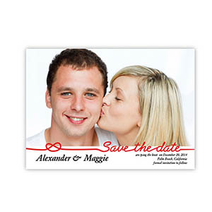 Personalized Big Announcement, Classic Red Save The Date Invitation Cards