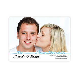 Personalized Big Announcement, Wedding Blue Save The Date Invitation Cards
