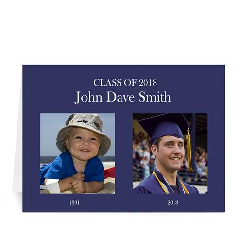 Custom Printed School Memories, Luxe Blue Greeting Card
