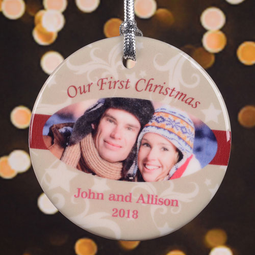 Our First Christmas Personalized Photo Porcelain Ornament