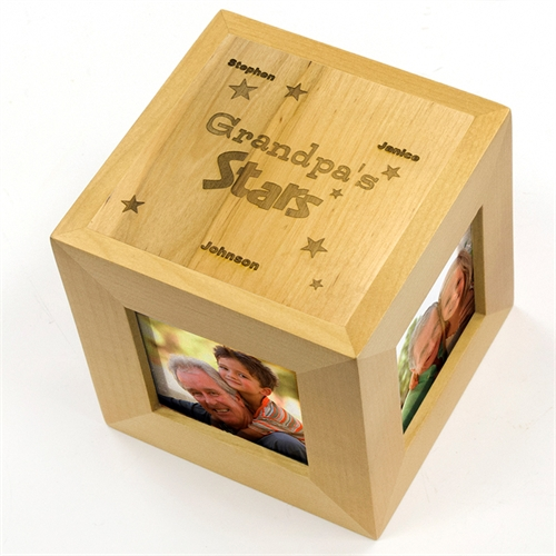 Engraved My Stars Wood Photo Cube