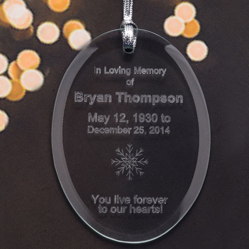 Personalized Laser Etched Walking Beside Me Glass Ornament