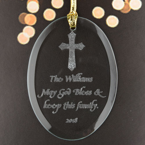 Blessings For You Personalized Glass Ornament