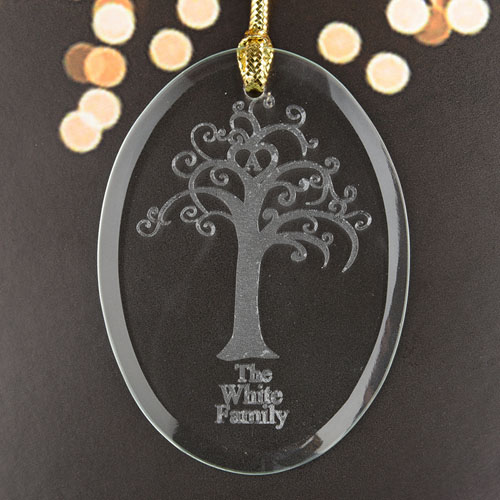 Family Tree Personalized Glass Ornament