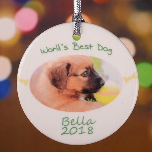Personalized World's Best Dog Round Porcelain Ornament