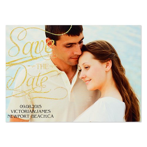 Personalized Gold Glitter Favorite Date Save The Date Invitation Cards