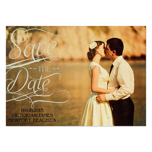 Personalized Silver Glitter Favorite Date Save The Date Invitation Cards