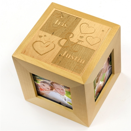 Engraved Sweet Ever After Wood Photo Cube